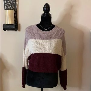 Cropped color block sweater